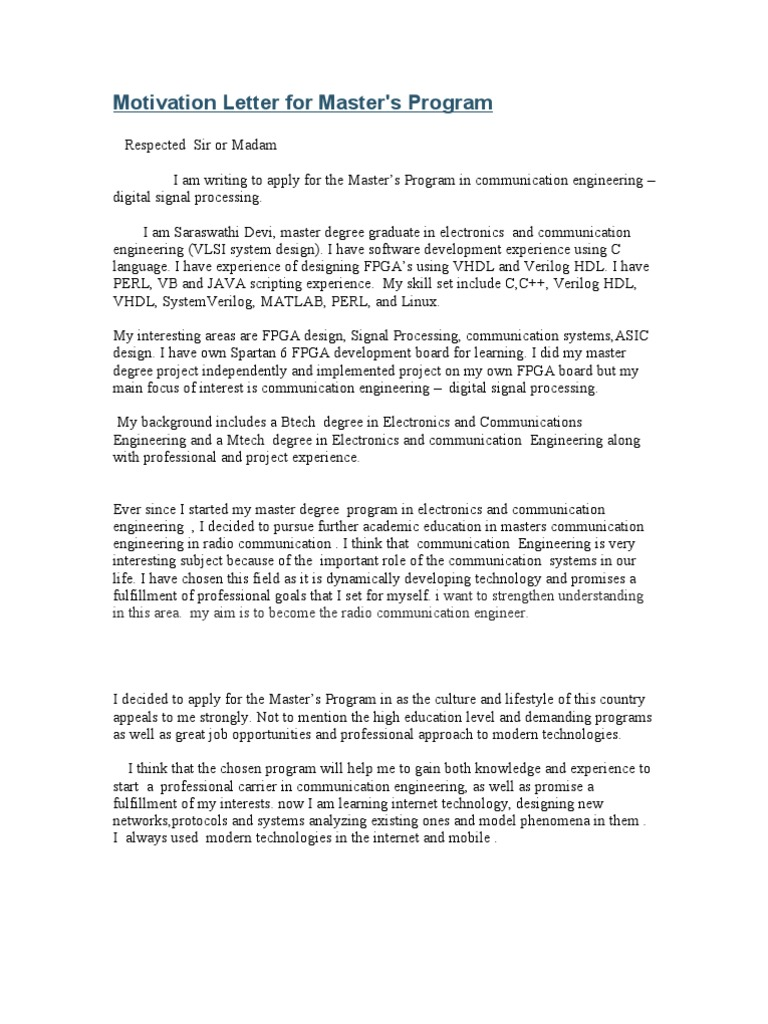 Motivation letter for dsp hardware description language engineering spiritdancerdesigns Images