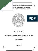ML214 SYLABUS  MÁQUINAS ELECTRICAS ESTÁTICAS 2013-1 NO COMPETENCIAS