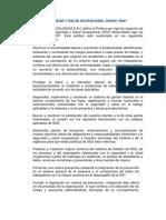 POLÍTICA DE SEGURIDAD Y SALUD OCUPACIONAL OHSAS 18001
