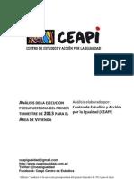 Análisis de la ejecución presupuestaria del 1er trimestre de 2013 del area de vivienda de la Ciudad de Buenos Aires