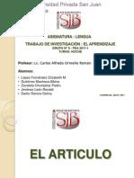 Lengua - El Articulo (Grupo 5)