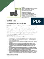 Zenit TTL russian SLR camera manual English