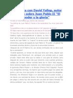 Entrevista Con David Yallop Verdades de La Muerte de Juan Pablo i