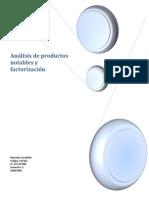 Análisis de productos notables y factorización