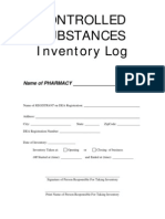Controlled Substances Inventory Log