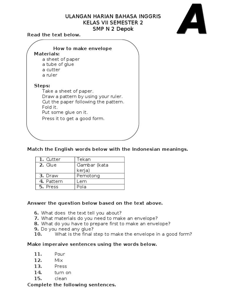 Contoh Soal Procedure Kelas Vii