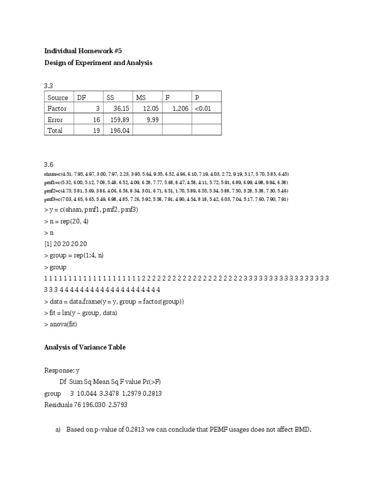 Design and Analysis of Experiment HomeWork # 5 | Errors And ...