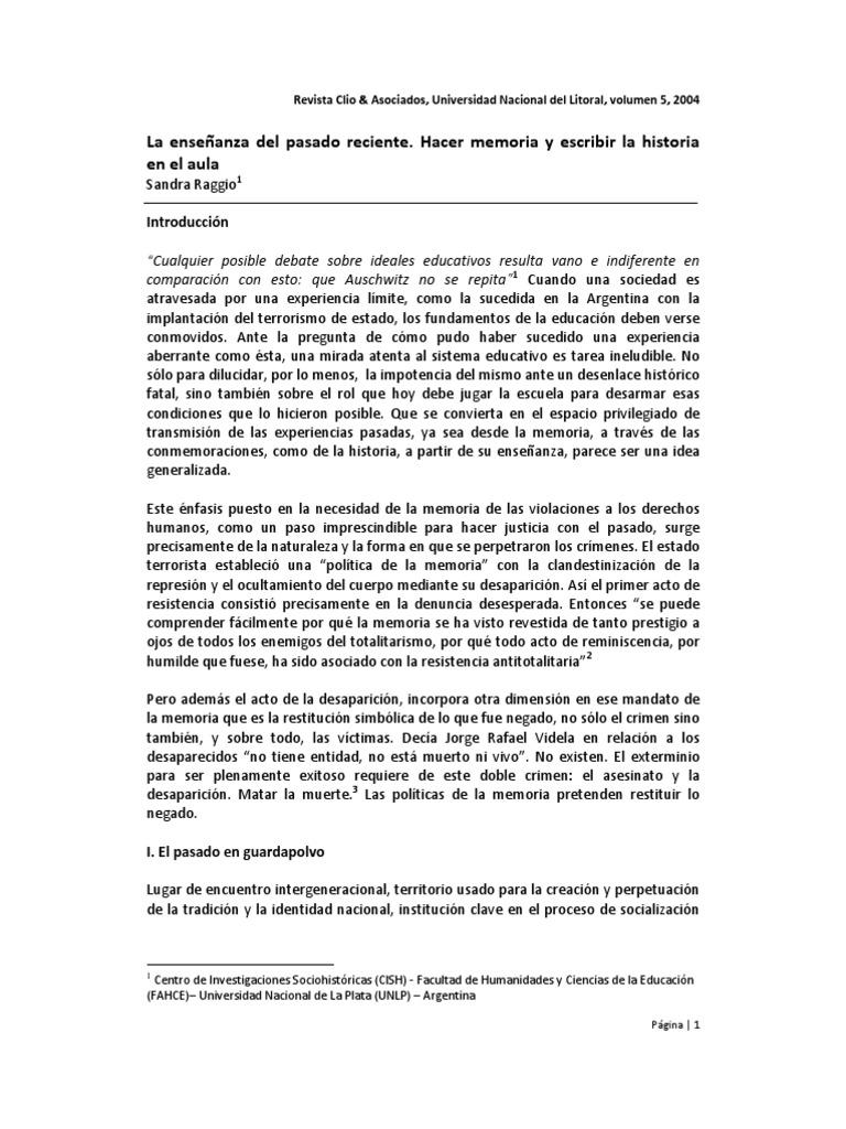 Ensenanza Pasado Reciente Sandra Raggio