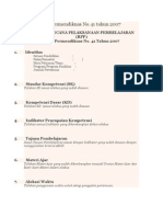 Contoh RPP Permendiknas No 41 Tahun 2007