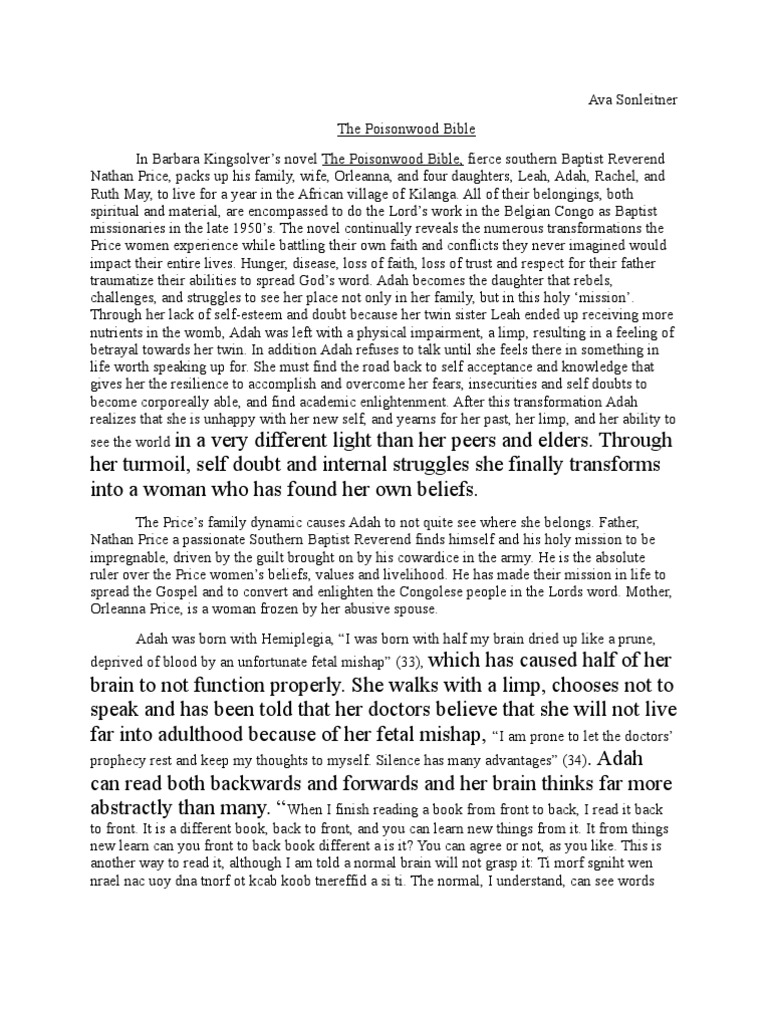Abraham Lincoln Essay Paper  Argumentative Essay Sample High School also Personal Essay Examples For High School Ava Sonleitners Poisonwood Bible Essay  Religion And Belief Top English Essays