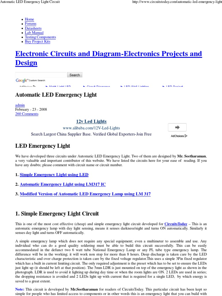 Automatic Led Emergency Light Circuit 1 Emitting Diode Lights Diagram Battery Electricity