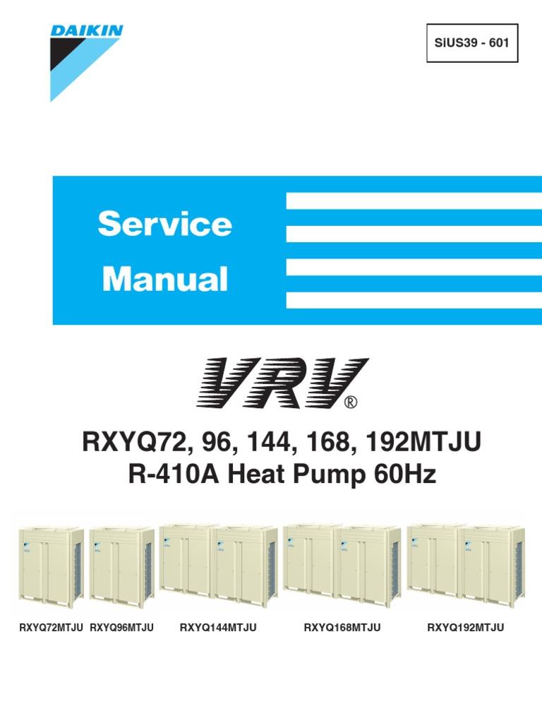 VRV Heat Pump Service Manual - Daikin SiUS39-601 | Heat Pump ... Daikin Vrf Control Wiring Schematic on