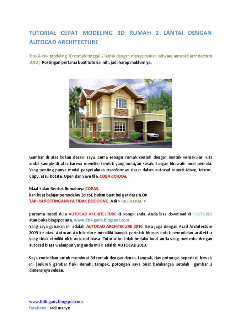 tutorial cepat modeling 3d rumah 2 lantai dengan autocad