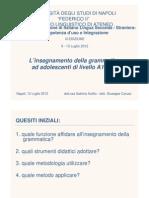 Caruso - L'insegnamento della grammatica ad adolescenti di livello A1 e A2
