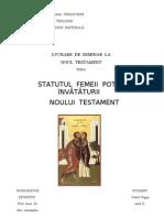 STATUTUL FEMEII POTRIVIT INVATATURII NOULUI TESTAMENT