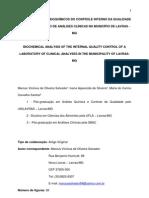 Análise de dados bioquímicos do Controle interno da Qualidade de um Laboratório de Análises Clínicas de Lavras