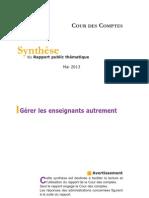 Synthese Rapport Thematique Gerer Les Enseignants Autrement