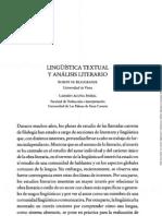 LINGÜÍSTICA TEXTUAL Y ANÁLISIS LITERARIO