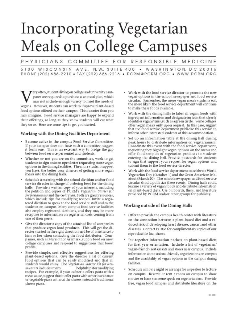 Vegetarian Meals on College Campuses | Soy Milk | Veganism