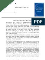 The Artemidorus Papyrus - Recensione di Dominic Rathbone sulla Classical Review 62 2012
