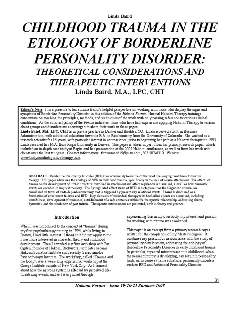 borderline personality disorder research paper This is the story of an 11 year old girl with obsessive–compulsive disorder help for personality disorders research suggests that call for papers.
