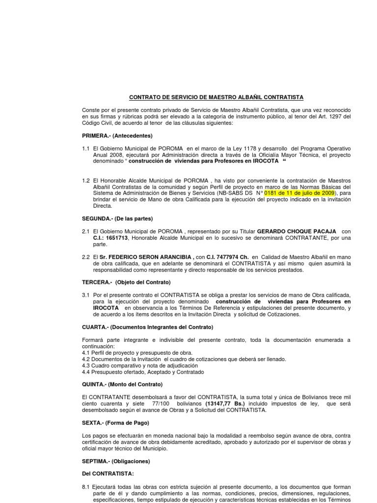 8.- CONTRATO maestro Albañil