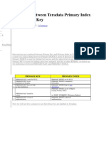 Difference Between Teradata Primary Index and Primary Key