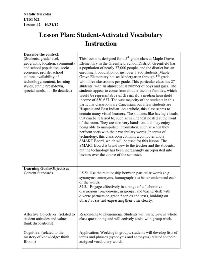 fifth grade savi lesson plan and handout ltm 621