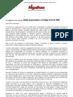 O regramento da atividade empresarial e o Código Civil de 2002 - Migalhas de Peso
