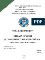 Etica in Afaceri Si Competitivitatea in Romania