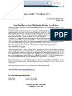 Shoal Point Energy Issues Clarification of Earlier News Release