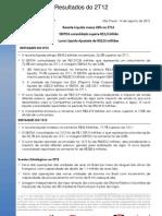 Press-release referente ao 2T12