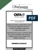 Identificación de Pasivos Ambientales de Hidrocarburos  & Metodología de Estimación de Riesgo