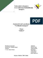 Vertikalni Transport - Seminarski Rad