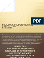 Sociology, Socialization and Personality
