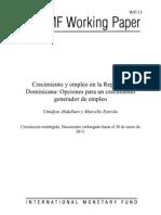 Crecimiento y empleo en la República Dominicana_opciones para un crecimiento generador de empleo_FMI enero2013