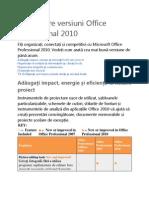 Comparare Versiuni Office Professional 2010