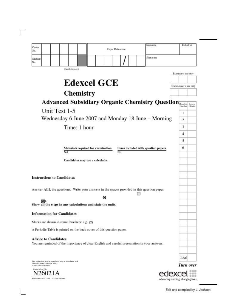 cape chemistry study paper 001 alcohol aldehyde - Periodic Table A Level Edexcel
