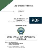 Msc Biotechnology Cbcegs Semester i to IV