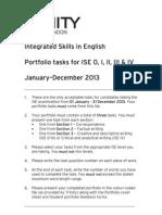 2013 Portfolio Tasks (ISE 0 - IV)
