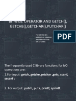 Bitwise Operator and Getch,Getche,Getchar Etc