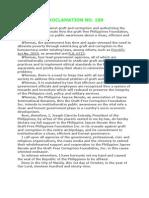 Proclamation 189 - Estrada's Declaration of War Against Graft and Corruption