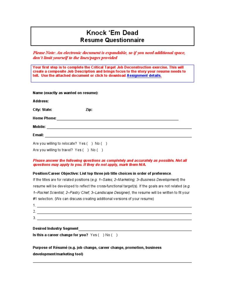 Resume Information Gathering Resume Employment