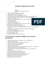List of Interview Questions Relating to the New Job