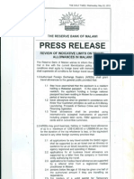 Press Release - Review of Indicative Limits on Travel Allowances in Malawi