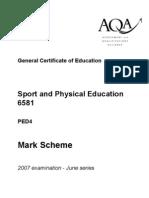 ped4 JUNE 07 mark scheme