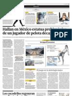 Hallan en México estatua prehispánica de un jugador de pelota decapitado