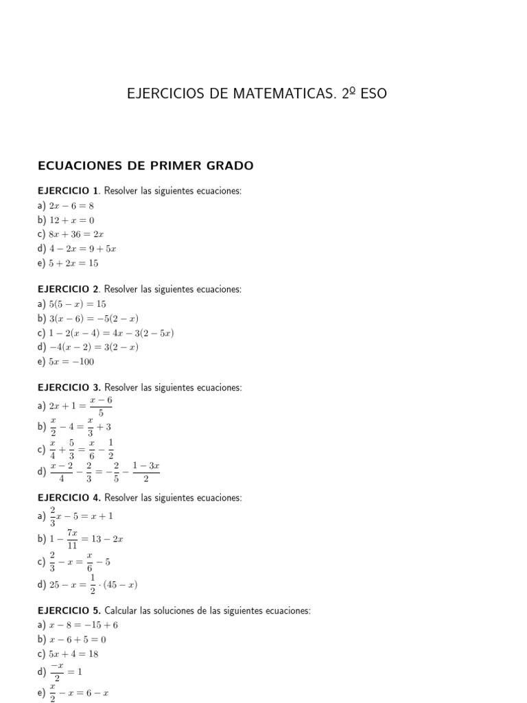 Ecuaciones Primer Grado 1 Eso Ecuaciones Enseñanza De Matemática