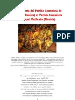 Carta Abierta del PCI (MAOÍSTA) AL PCNU (M).