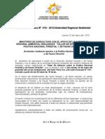 BOLETIN DE PRENSA 018 - 2013TALLER POLÍTICA NAC. FORESTAL Y DE FAUNA SILVESTRE
